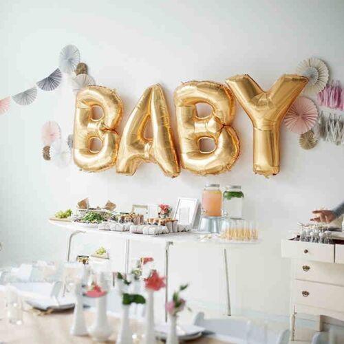 Nuevo Bebé Ducha Látex Fiesta Globos impresos globos de Bebé Niña Niño cintas de papel de aluminio