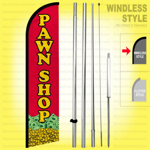 Windless Swooper Flag Kit 15/' Tall Feather Banner Sign  rf-h PAWN SHOP