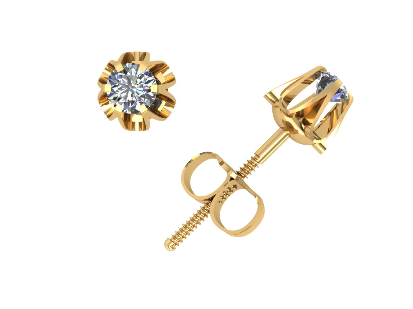 0.1Ct Round Diamond Buttercup Stud Earrings 14k Yellow gold 6Prong Setting J I1