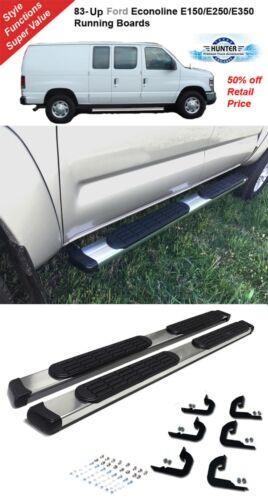 """83-Up Ford Econoline E150//E250//E350 5/"""" Chrome Pads Running Side Step Boards"""