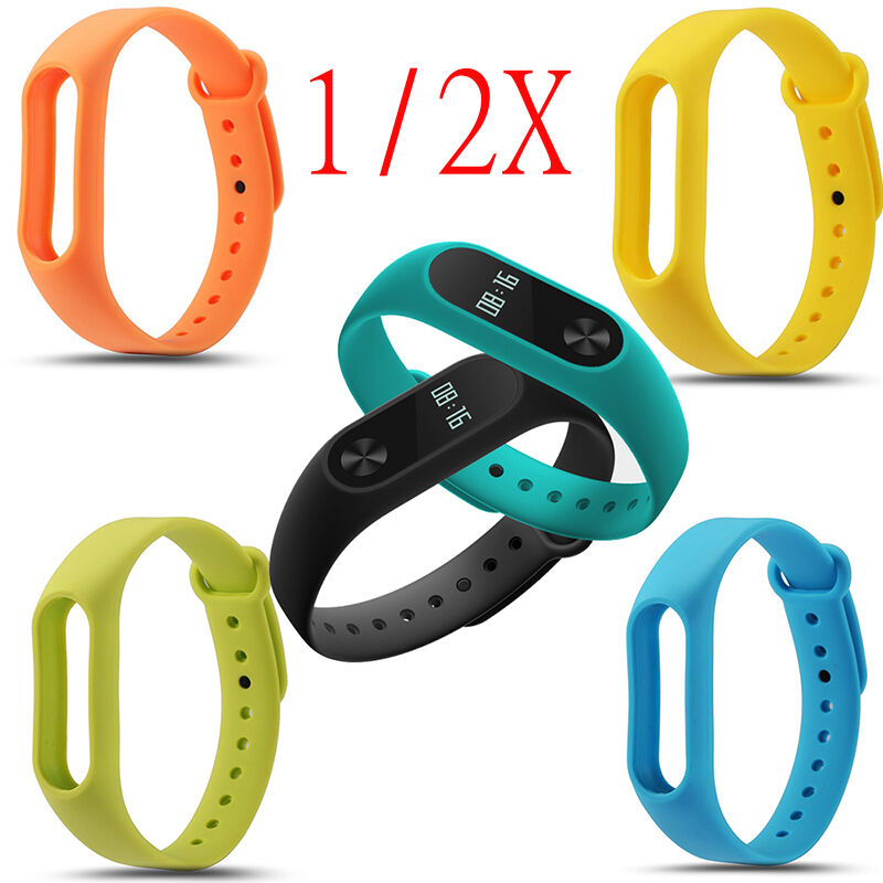 1/2PCS Silicon Wrist Strap WristBand Bracelet  for XIAOMI MI Band 2