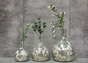 Image Is Loading Very Large Antique Silver Mercury Gl Vase Leaf