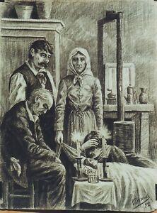 """veillee Mortuaire"" Dessin Au Crayon Noir P. Perroud 1892"