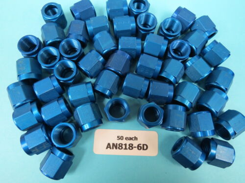 """50 each AN818-6D Nut Coupling for 3//8"""" Tube OD Aviation Aircraft Race NEW"""