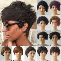 Short Human Hair Wig For Women Mommy Afro Curly Finger Wave Straight Bob Wig Fts