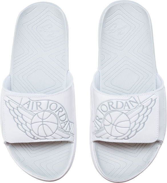 9b44060ac10ab1 Jordan Hydro 7 Mens Aa2517-100 White Platinum Wing Logo Slide Sandals Size  13 for sale online