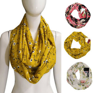 30X180cm-Fashion-Women-Winter-Thermal-Active-Infinity-Scarf-With-Zip-Pocket-New