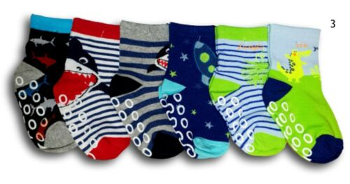 Baby Boys ABS Anti Slip Non Slip Cotton Socks Size 9 Months to 3 Years 6 Pairs