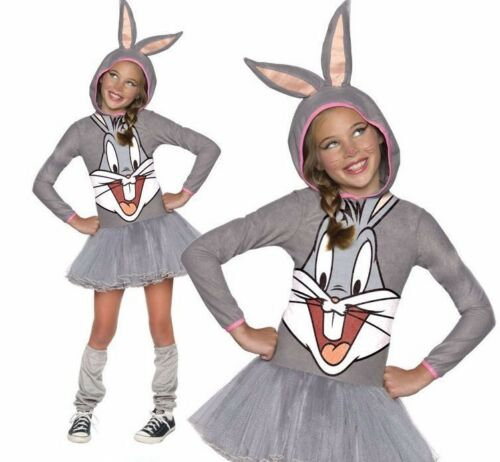 Child DELUXE BUGS BUNNY Hooded TuTu Cartoon Girls Fancy Dress Costume Age 3-10