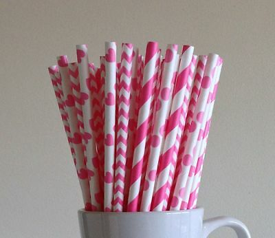 100x Hot pink paper straws wedding drinking party tablewear DIY candy sticks
