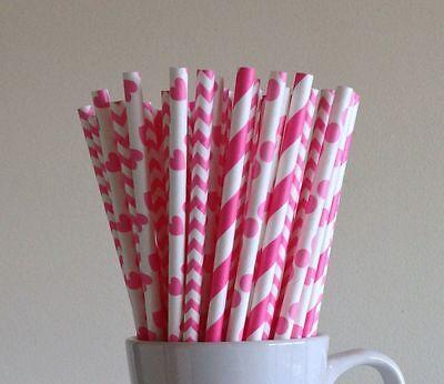 100x Hot pink paper straws wedding drinking party tablewear DIY candy sticks