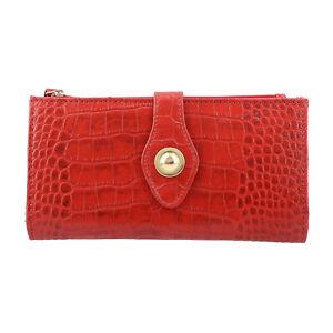 Shop LC Red Croco Embossed 100% Genuine Leather RFID Ladies Wallet with Wristlet