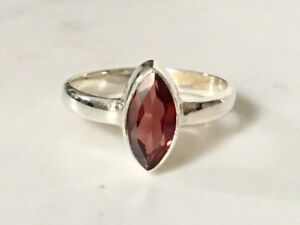 925-Sterling-Silver-Garnet-Ring-Faceted-Gemstone-Marquise-Stack-US-Size-6-7-8-9