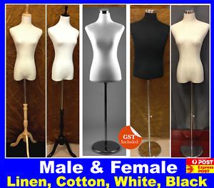 Linen-Cotton-Cover-Female-Male-Child-White-Black-Mannequin-Torso-Wooden-Stand