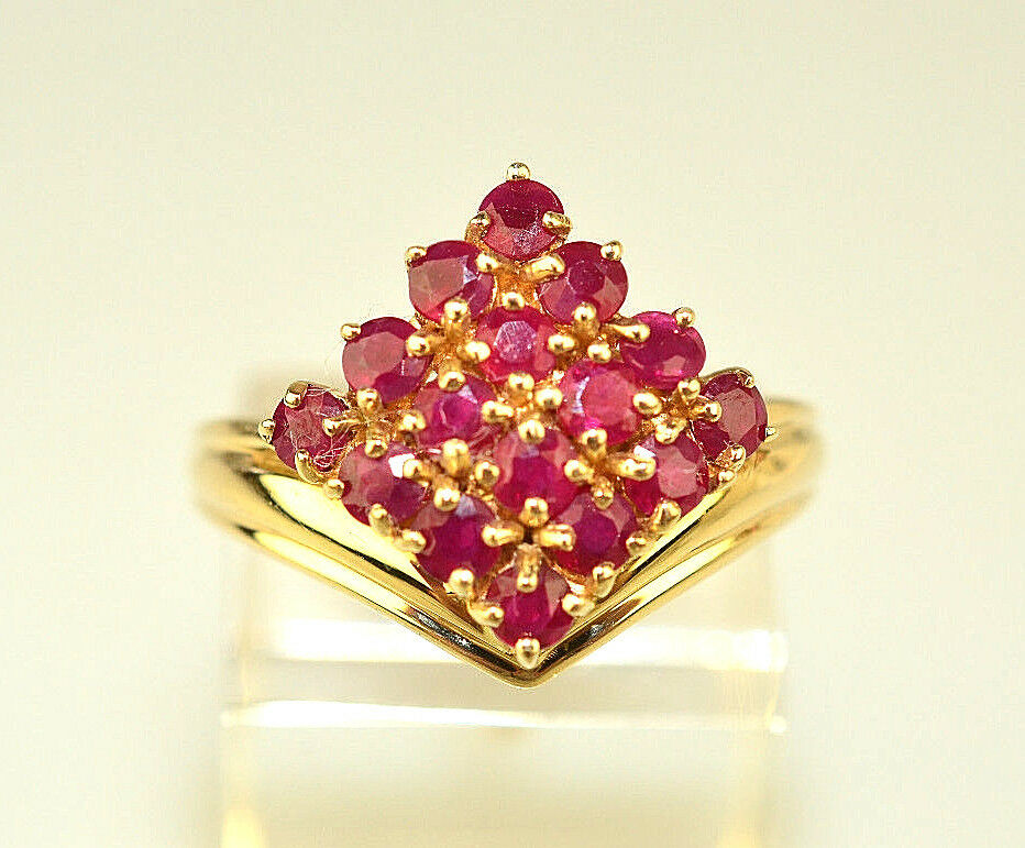10K SOLID YELLOW gold SYNTHETIC RUBY RING GEOMETRIC CLUSTER SHAPE SIZE 8.25