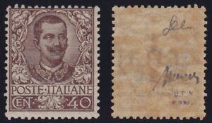 Regno-1901-034-Floreale-034-40-cent-bruno-n-74-nuovo-MNH-gomma-integra-cert-Cilio