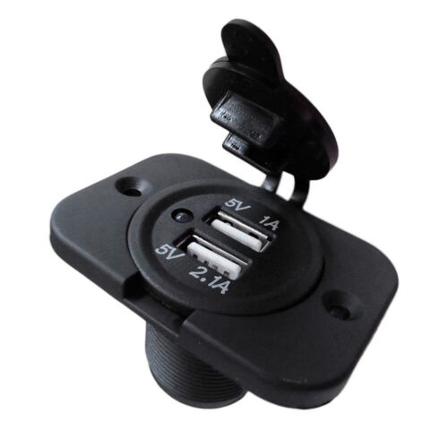 12V Auto Car Boat Truck Charger Power Socket Outlet Dual USB Port Plug Panel