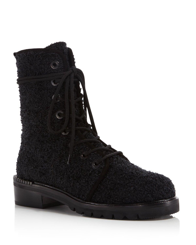 598 size 7 Stuart Weitzman Metermaid Boucle Combat Booties Womens shoes