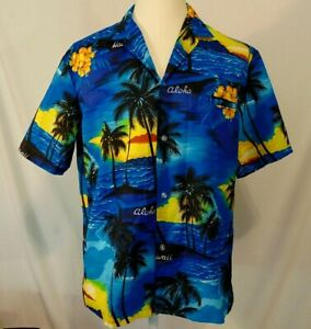 Royal-Creations-Hawaiian-Shirt-Mens-Size-L-Vintage-Button-Up-Aloha-Blue-Sunset
