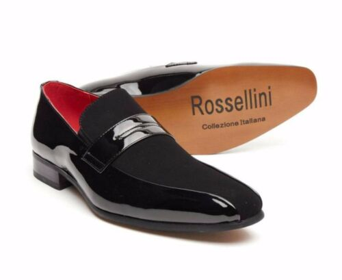 Rossellini Monzese Men/'S Shoes Black Faux Shiny Leather Wedding Moccasin Loafer