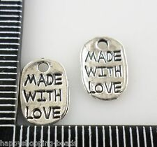 """60pcs Tibetan Silver Small sign """"MADE WITH LOVE"""" Charms Pendants 8x11mm"""