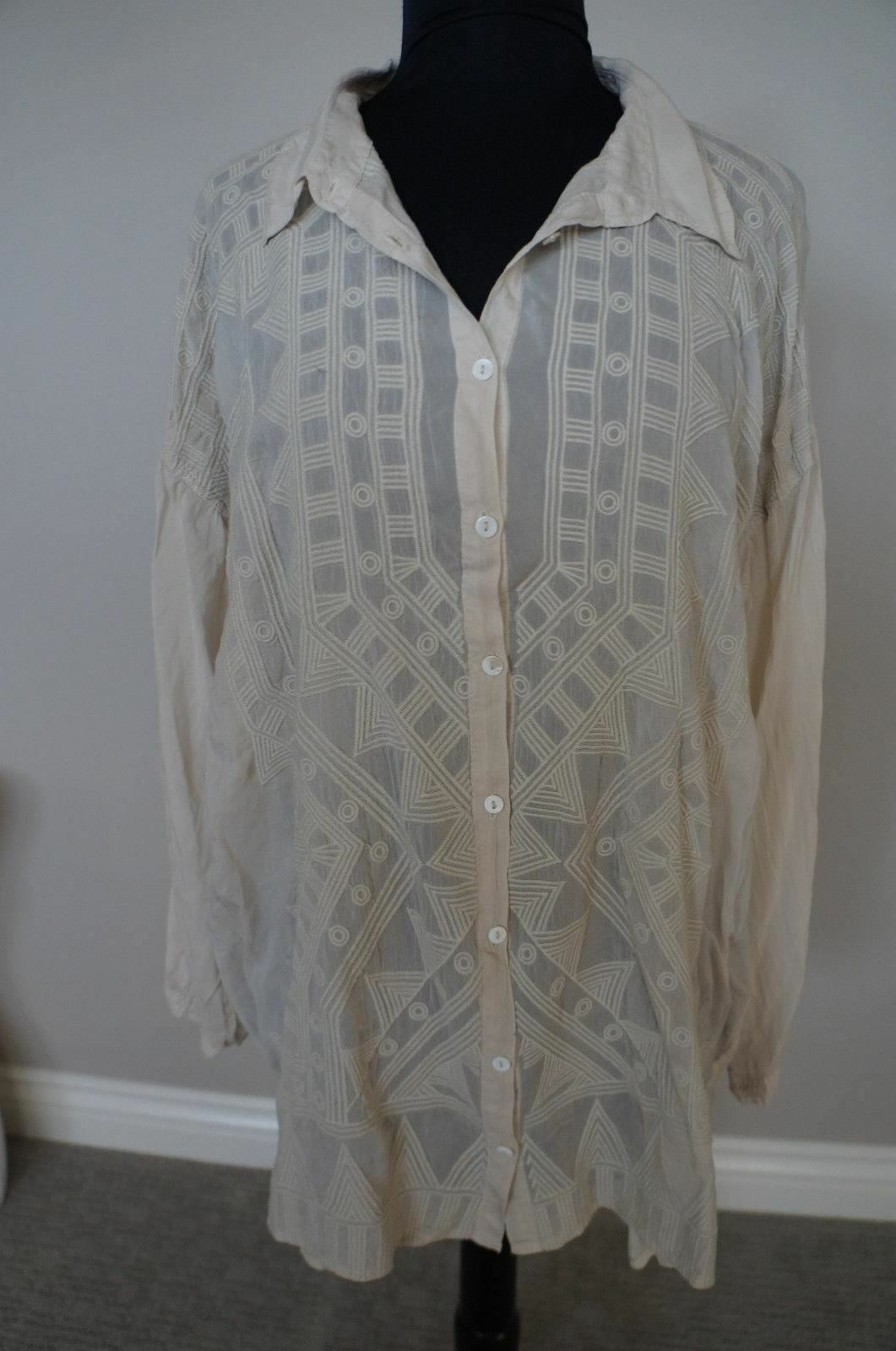 NEW Johnny Was BOHO Embroiderot Button Down Drape Blouse Top Tunic Shirt Beige S