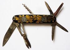 Canif couteau multifonctions ART NOUVEAU vers 1910 laque + argenté ancien