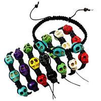 6x Skull Bracelets - Braided Black Cord W/ Skull Beads - Stylish Punk Fashion