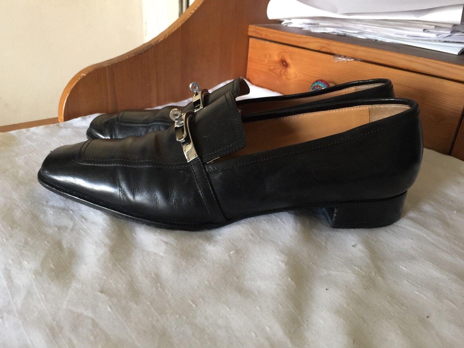 clienti prima reputazione prima HERMES DRESS DRESS DRESS scarpe Dimensione 40.5 US 9.5 leather 10.75  ITALY nero  1210  risposta prima volta