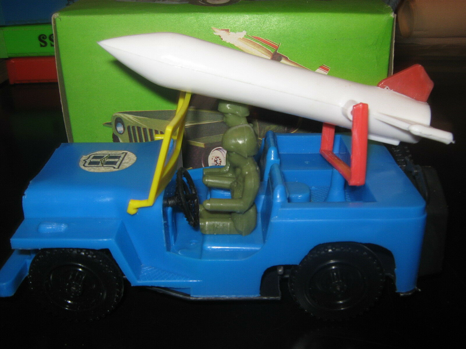 Vintage Raro griego plástico Wind-Up Jeep Militar Aire-Force by elvip Menta en caja