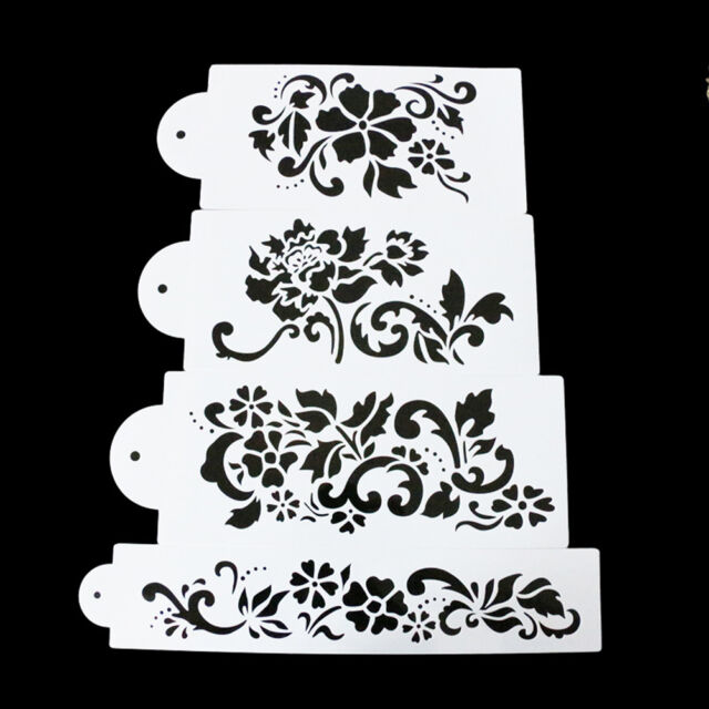 4PCS Flowers Fondant Cake Stencil Kitchen Cupcake Template Mold Baking Tools R