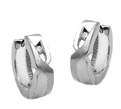 Creole 925 Silber kleine Ohrringe matt-glänzend mit Zirkonia 06