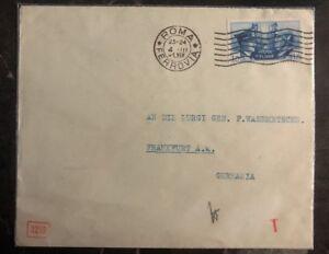 1941 Roma Italy Censored Cover To Frankfurt Germany