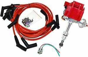 SBF-Ford-289-302-5-0L-HEI-Distributor-65K-Coil-8mm-Red-Silicone-Spark-Plug-Wires