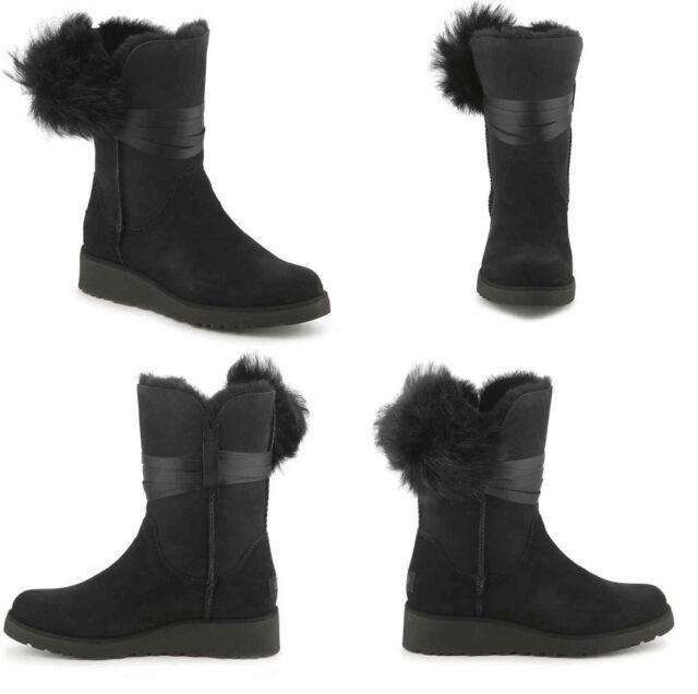 a4db59ac4b4 UGG Brita Toscana Pom Suede Sheepskin Wedge BOOTS Black Color Size 8 ...