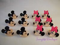 24 Mickey & Minnie Mouse Cupcake Ring Favor Supplies Rings Topper Birthday C