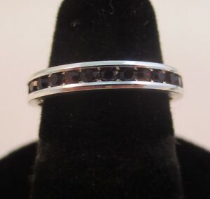 SIZE-7-STERLING-SILVER-PLATED-STACKABLE-JANUARY-GARNET-WEDDING-ETERNITY-RING