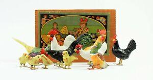 Konvolut-Massefiguren-Tiere-Bauernhof-Fasan-Henne-Hahn-Enten