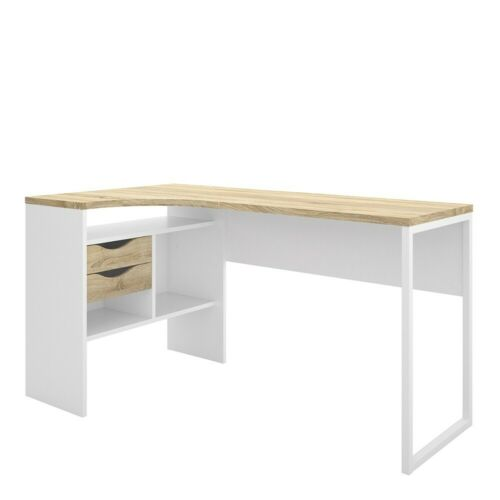 Function Plus Modern 2 Storage Drawers Corner Desk Workstation-White and Oak