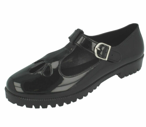 Ladies F80045 T-Bar Jelly Buckle Shoes in Black or White by Unbranded *SALE!*