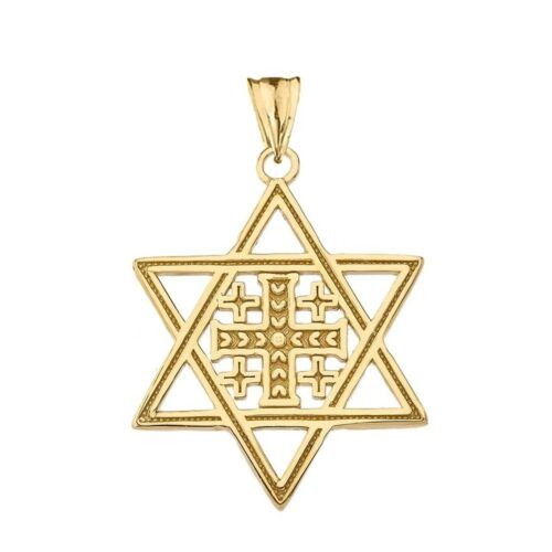 Details about  /14k Solid Yellow Gold Jerusalem Cross In Star Of David Pendant Necklace