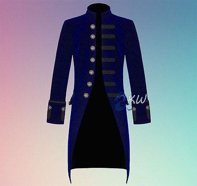 Men's Handmade Jacket Blue Velvet Gothic Victorian Jacket Steampunk FROCK COAT
