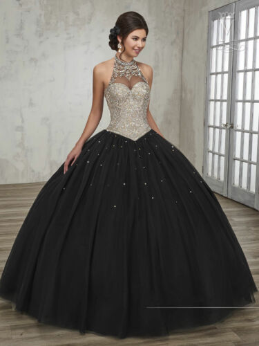 Jeweled Quinceanera Dress Sweet 15 Dress Party Ball Gown Halter Prom Gown New