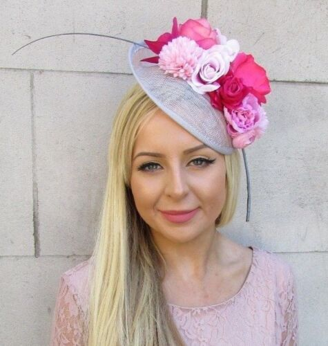 Grey Blush Light Hot Pink Flower Sinamay Disc Saucer Hat Fascinator Races 5895