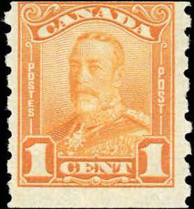 Mint-H-Canada-F-Scott-160-COIL-1c-1929-KGV-Scroll-Issue-Stamp