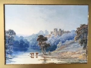 Warwick-Castle-Victorian-Watercolour-painting-circa-1860