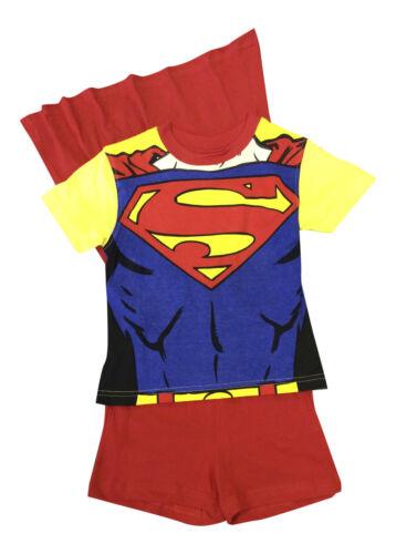 Garçons Nouveauté Superman Pyjamas shorties avec cape tous âges jaune