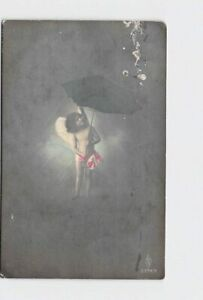 ANTIQUE-POSTCARD-VALENTINE-REAL-PHOTO-CUPID-GIRL-UNDER-UMBRELLA-HAND-COLORED