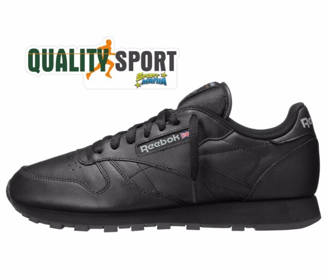Reebok CL Classic Leather Nero Uomo Pelle Scarpe Shoes Sportive Sneakers  2267 bce9f54ee9e