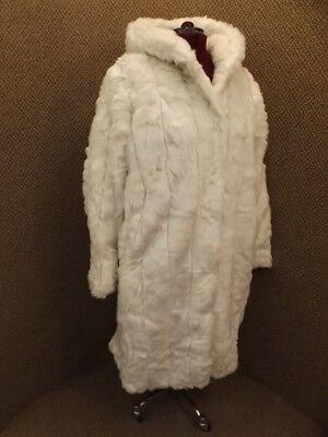 a306b224d2b42 Luscious Glamorous Plush Full Length Hooded Snow White Faux Fur Coat NEW Sz  L | eBay
